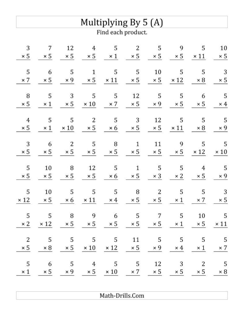 Multiplying 1 To 125 (A) Practice Sheets Plus Answers