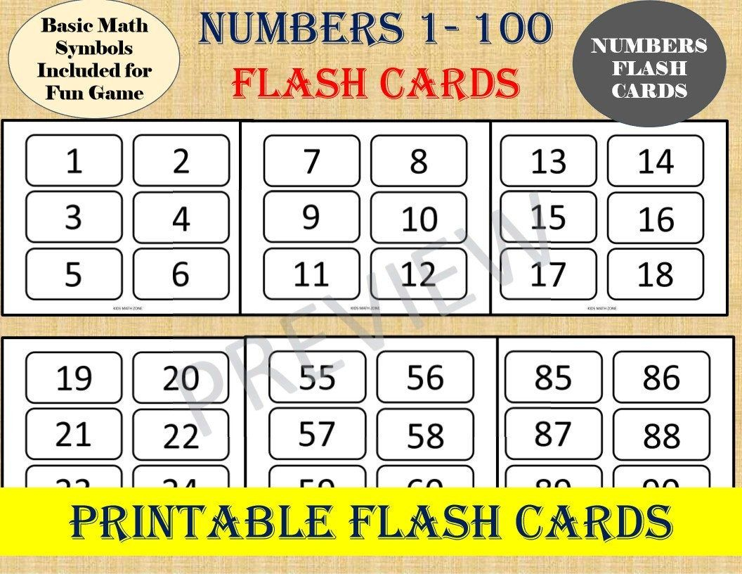 Numbers Flash Cards (Numbers 1 To 100)/ Basic Math Games