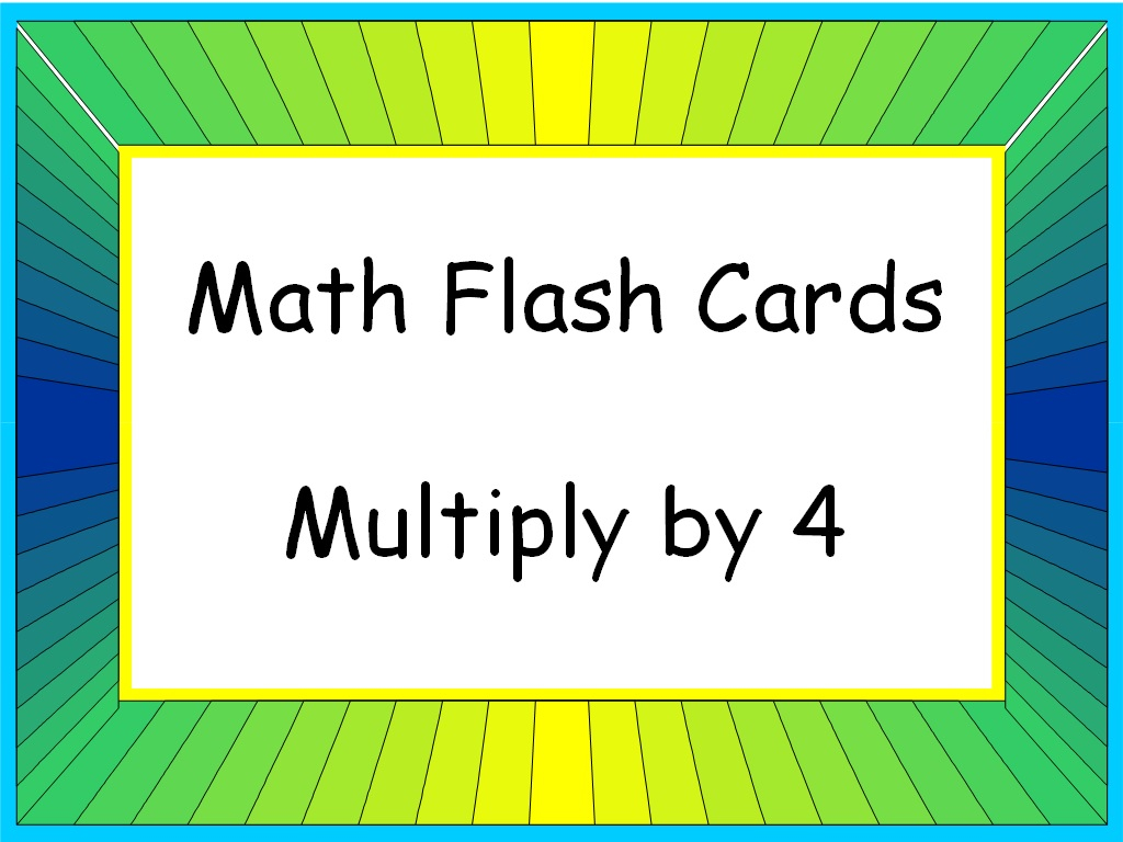 Student Survive 2 Thrive: Math Flash Cards: Multiply4 (4