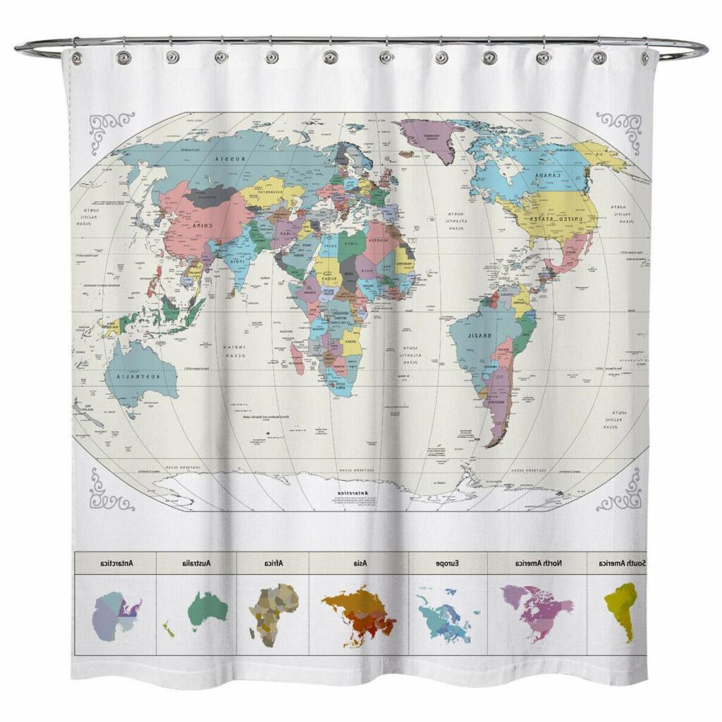 Sunlit World Map Decor Ocean City Fabric Polyester