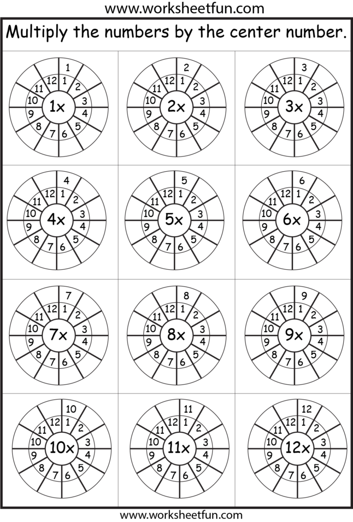 Times Table – 2 12 Worksheets – 1, 2, 3, 4, 5, 6, 7, 8, 9