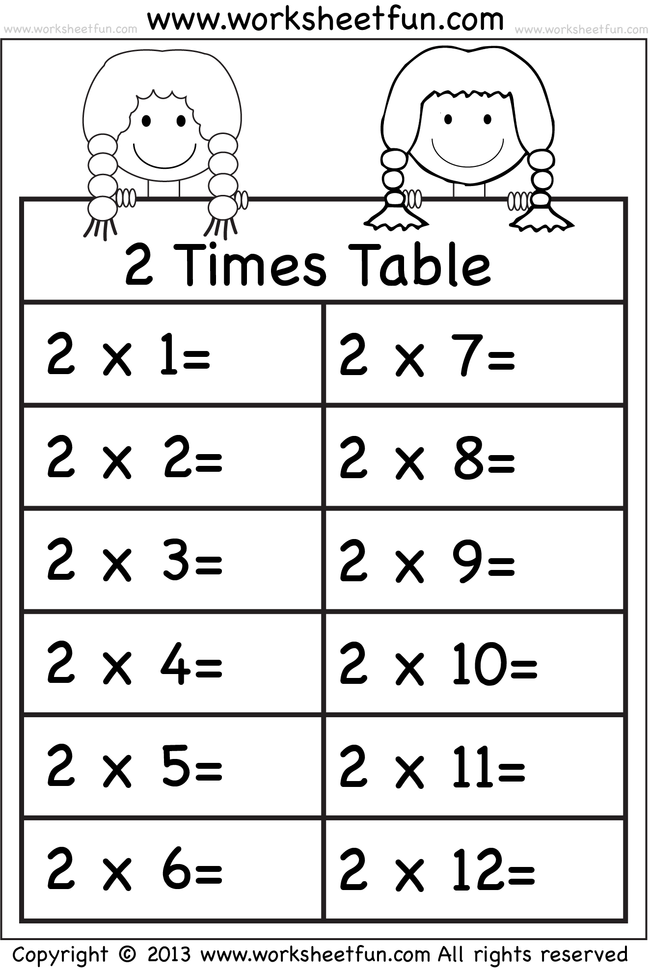 Times Tables Worksheets – 2, 3, 4, 5, 6, 7, 8, 9, 10, 11 And