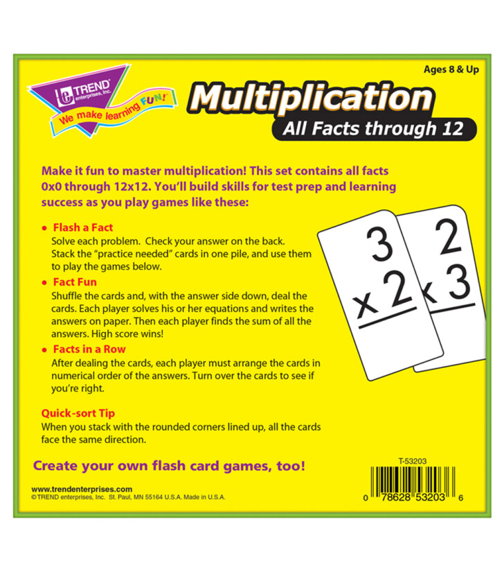 Multiplication Flash Cards Online 0-12