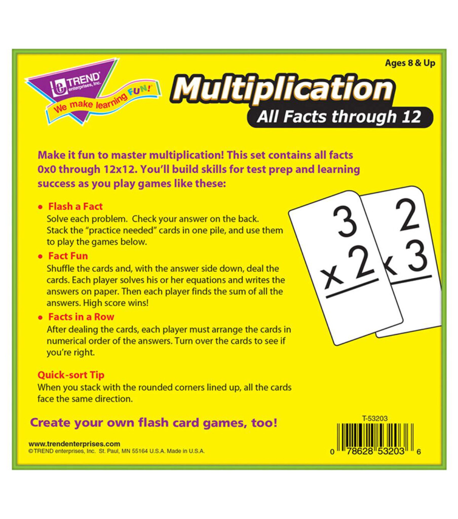 Trend Enterprises Inc. Multiplication 0 12 All Facts Flash Cards