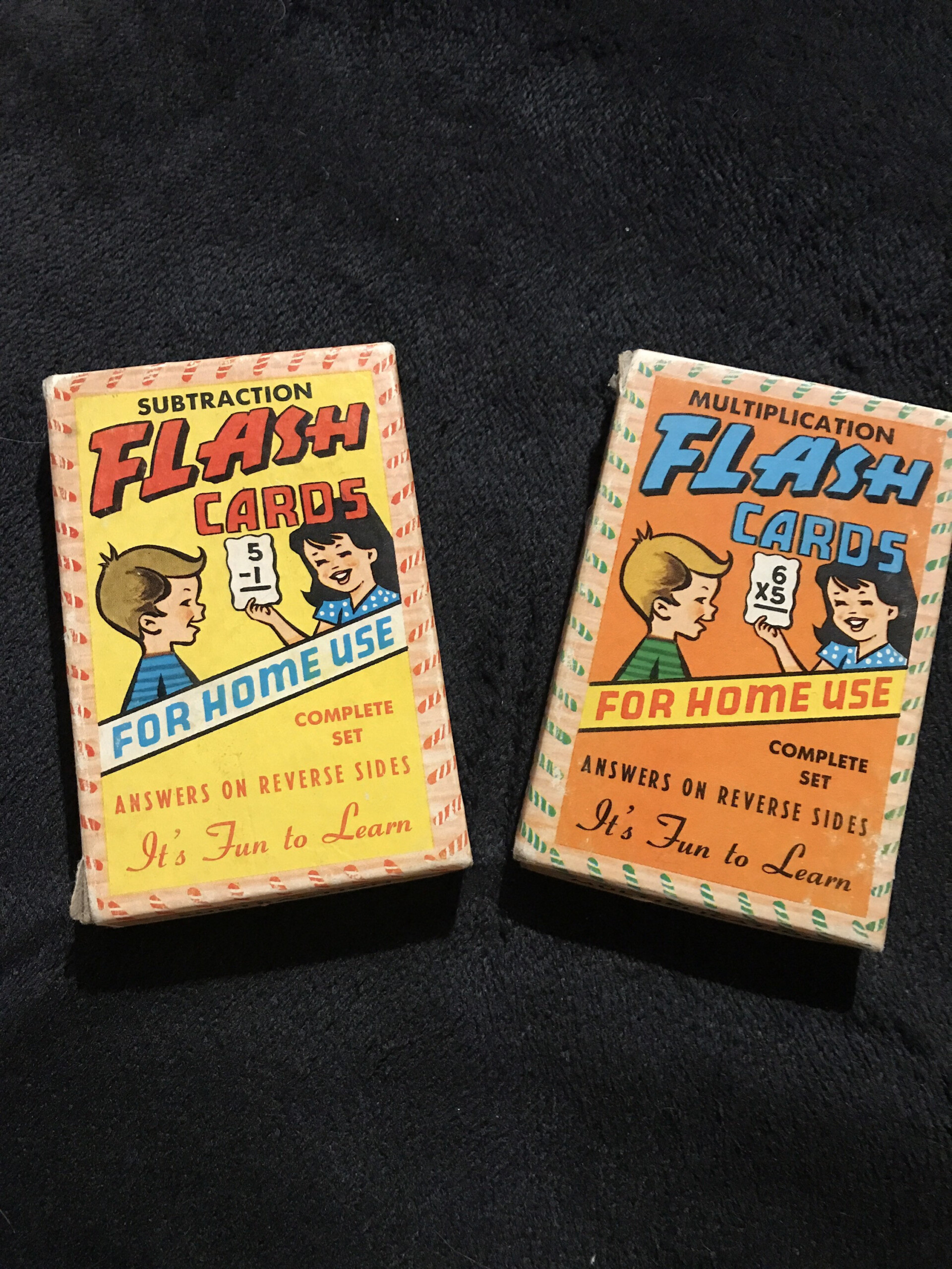 Vintage Children'S Flash Cards. Two Sets Warren Paper Products Company  Flash Cards. Multiplication Flash Cards. Subtraction Flash Cards