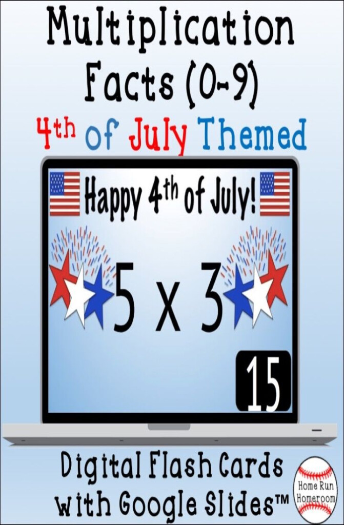 4Th Of July Themed Multiplication Facts Digital Flash Cards