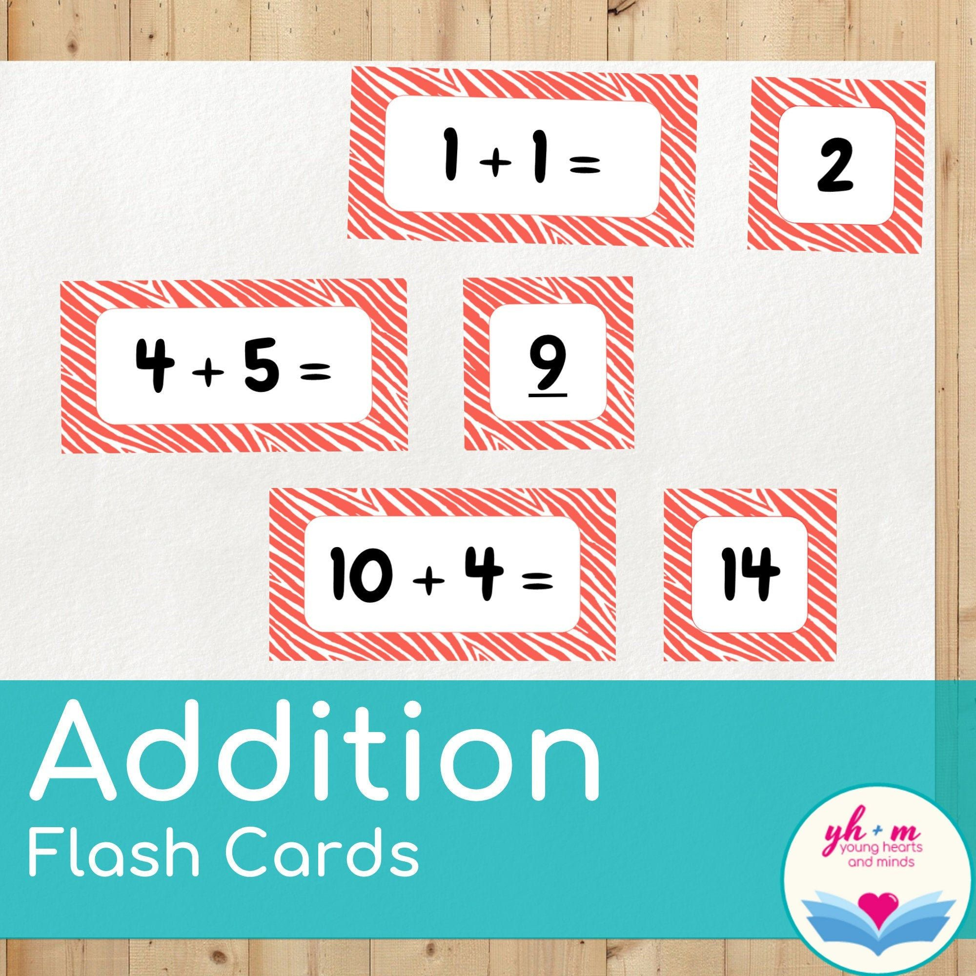 Addition Flash Cards - Math Fact Practice Adding 0 - 10, For
