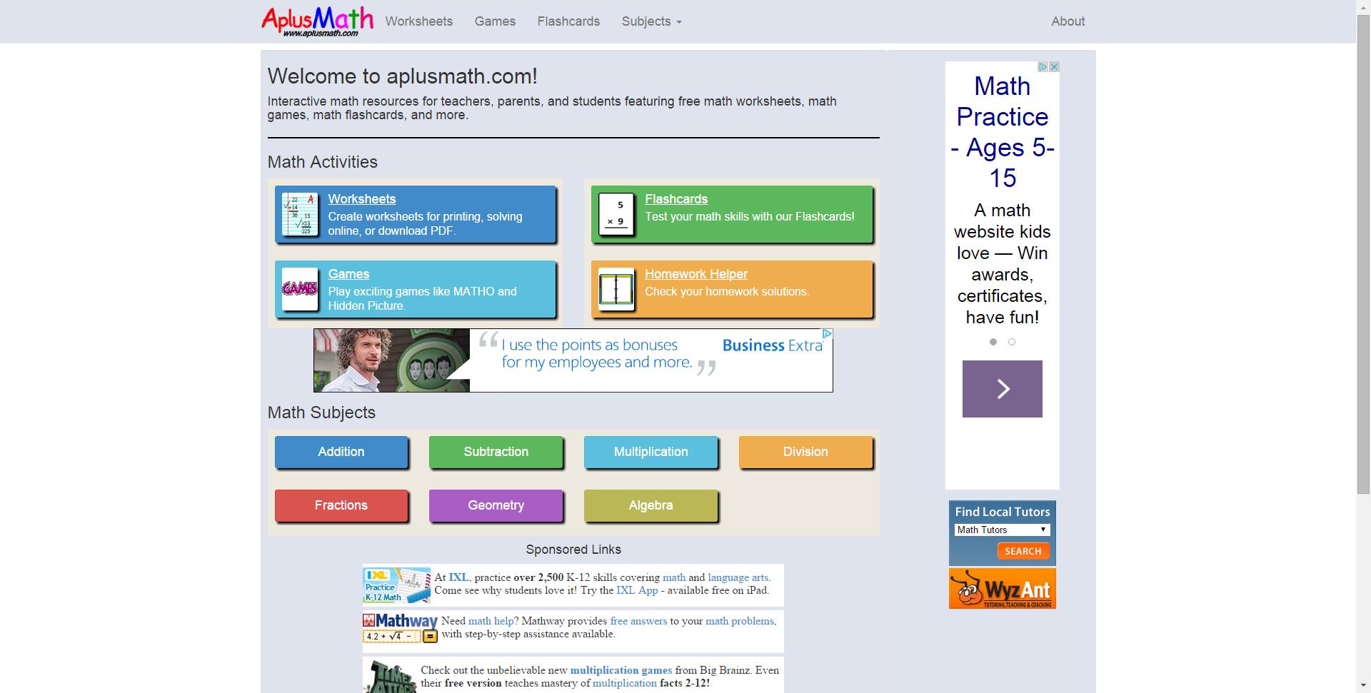 Aplusmath - Free Math Worksheets, Math Games, Math