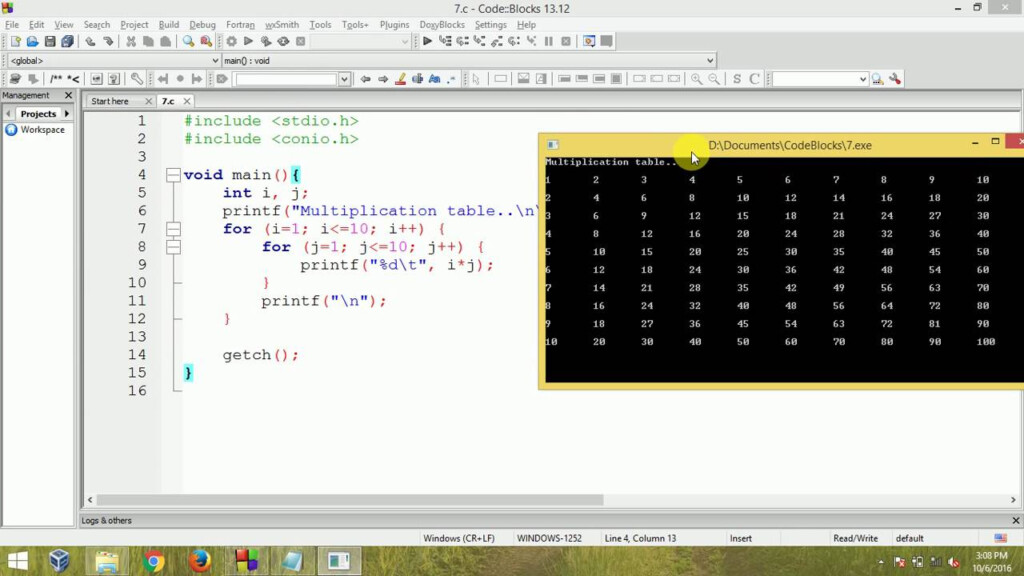 C Programming   Multiplication Table Using Nested For Loop