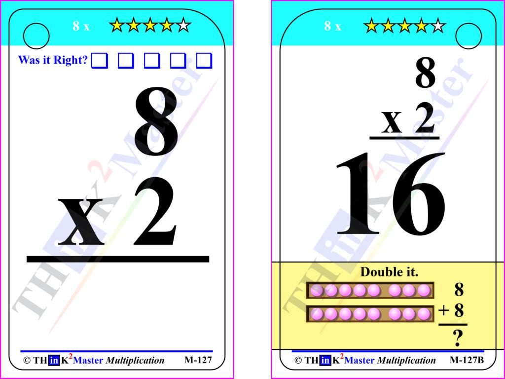 Free Printable 8 X 2 Multiplication Flash Card. Designed