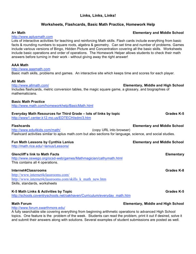 Links, Links, Links! Worksheets, Flashcards, Basic Math Practice