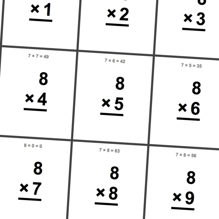 Multiplication Flash Cards Printable 8