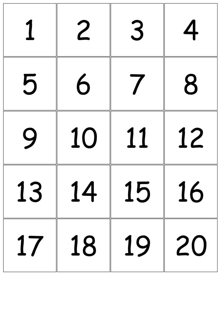 Number+Cards+1 20 | Large Printable Numbers, Free Printable