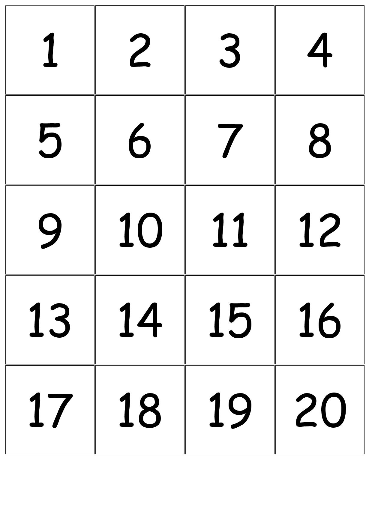 Number+Cards+1-20 | Large Printable Numbers, Free Printable