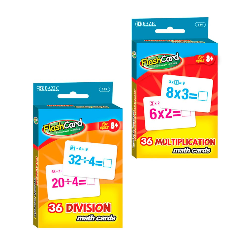 Set Of 2 Learning Flash Cards Multiplication Division Numbers Math  Educational ! - Walmart