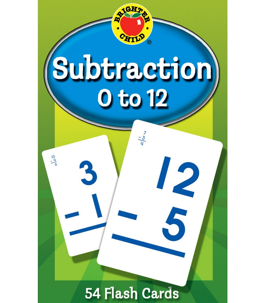 Subtraction 0 To 12 Flash Cards