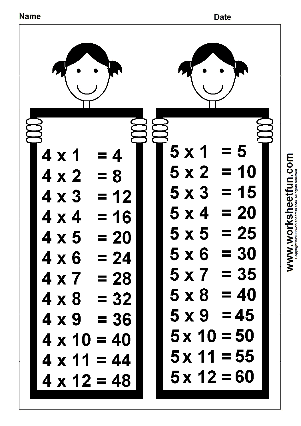 Times Table Chart – 4 & 5 / Free Printable Worksheets