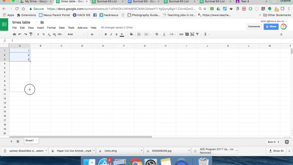 1 Times Tables In Google Sheets