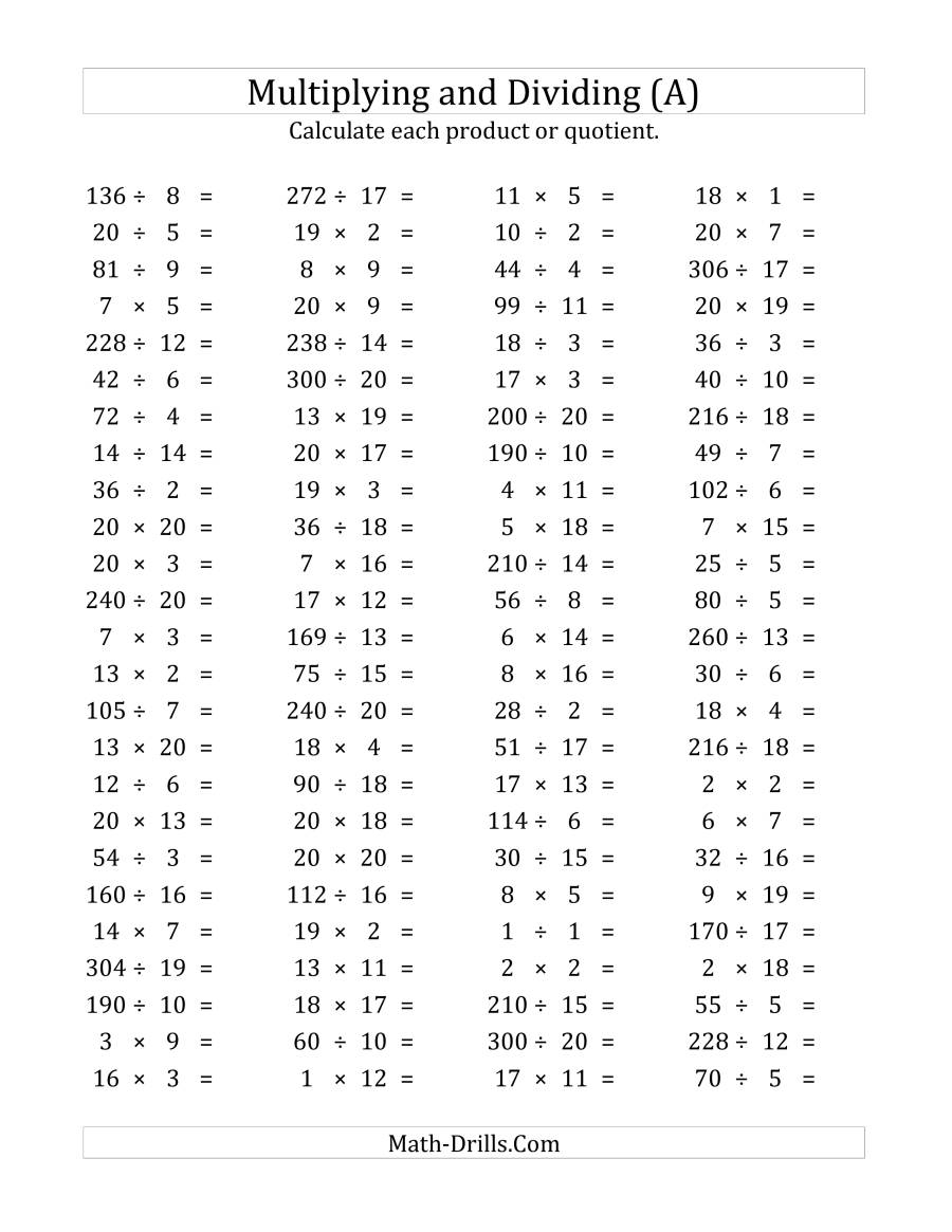 100 Horizontal Multiplication/division Questions (Facts 1 To