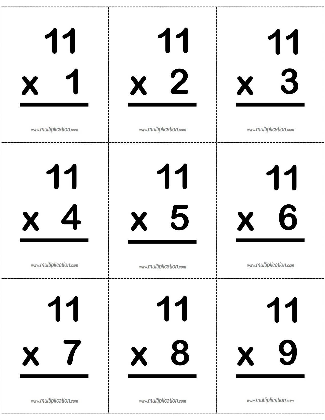 11's, 11 X Multiplication Fact Flash Cards Front