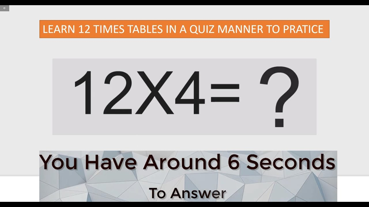 12 Times Table Quiz | Interactive 12 Multiplication Table | Learn Maths