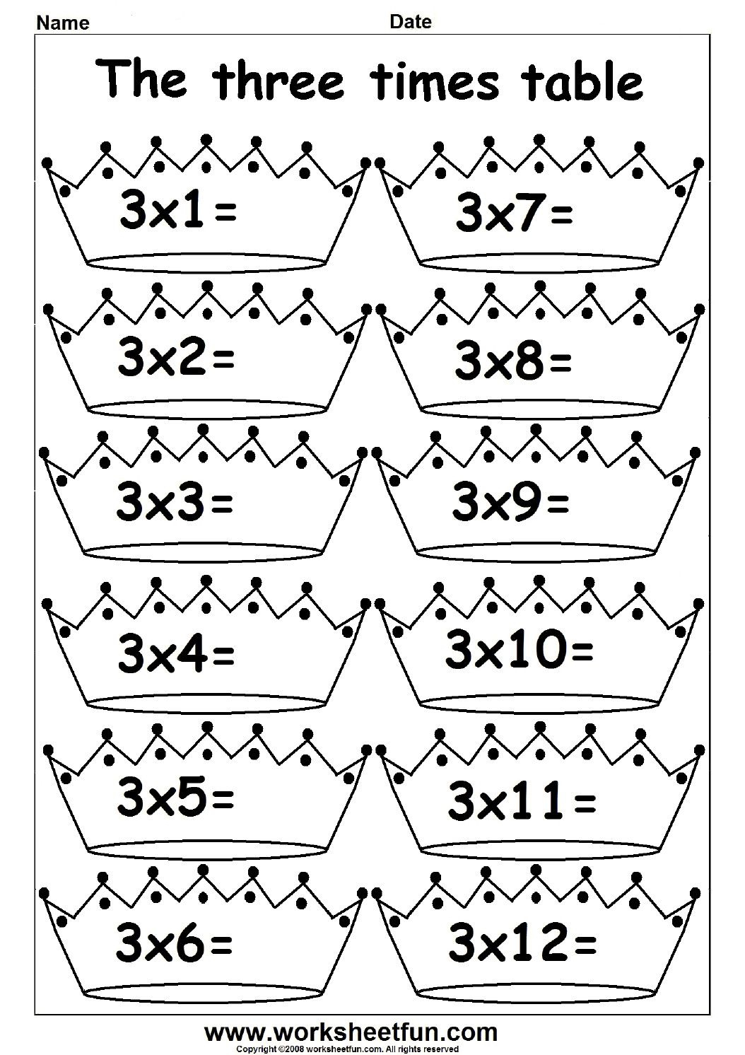 12 Times Tables Worksheets Printable