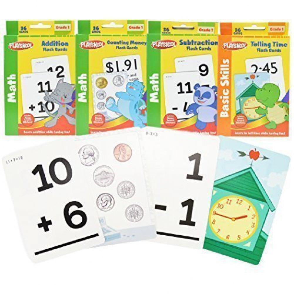 1St Grade Math Flash Cards With Stickersplayskool - 4 Pack - Walmart