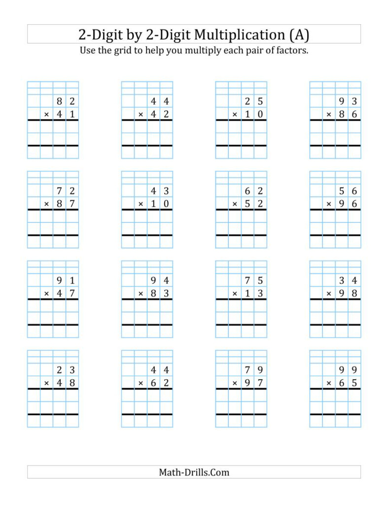 2 Digit2 Digit Multiplication With Grid Support (A)