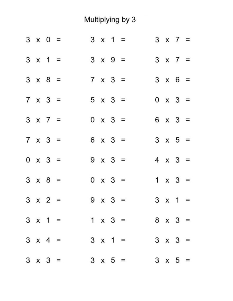 3 Times Tables Worksheet Fun In 2020 | Multiplication Facts