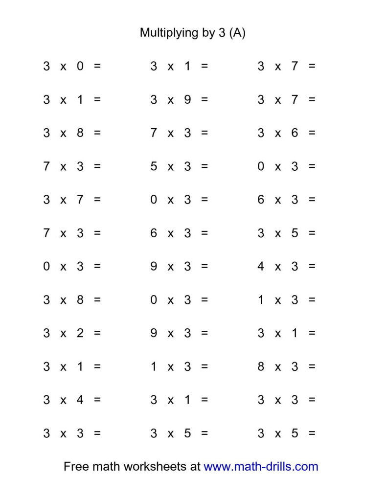 36 Horizontal Multiplication Facts Questions    30 9 (A