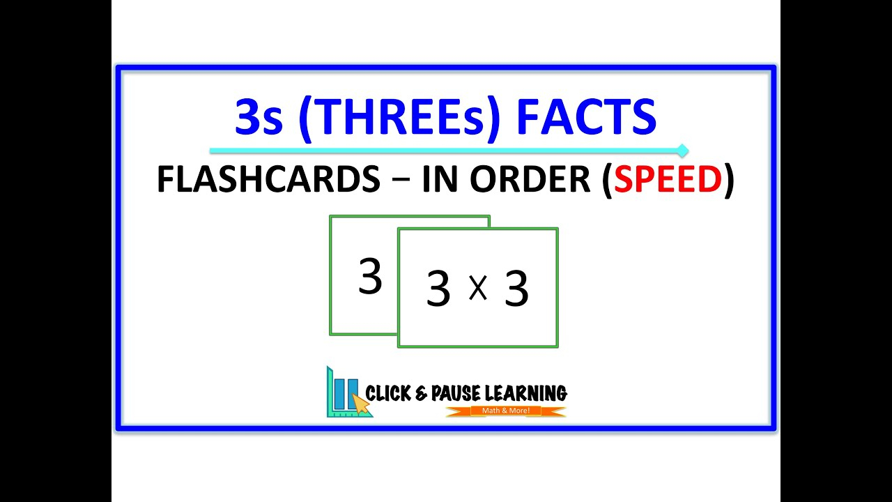 3S Facts Multiplication - Flashcards - In Order - Speed