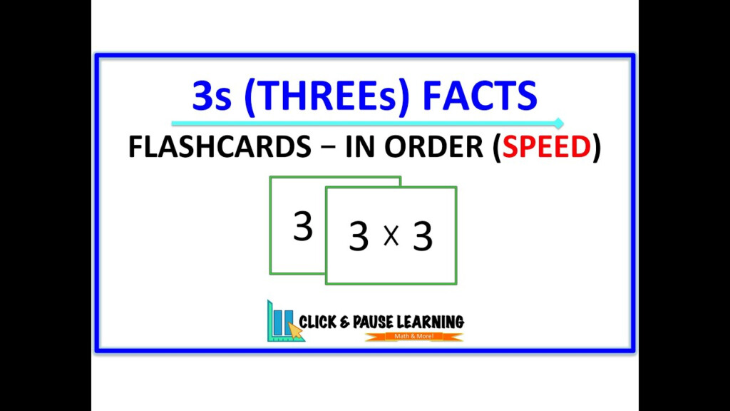 3S Facts Multiplication   Flashcards   In Order   Speed