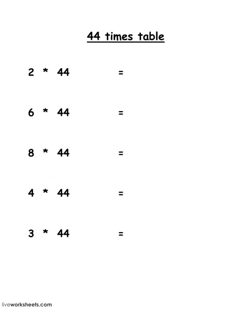 44 Times Table Worksheet