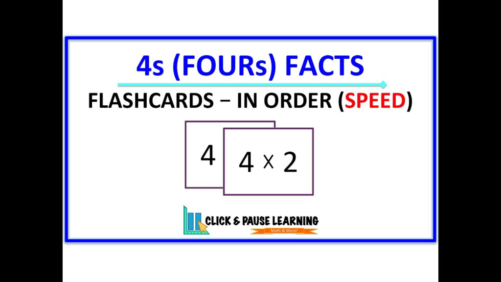 4S Facts Multiplication   Flashcards   In Order   Speed