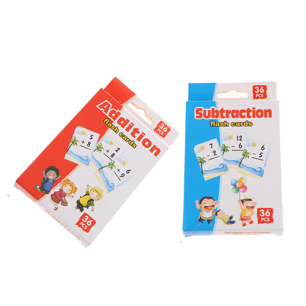 72 Pcs Total Kids Math Flash Cards For Addition And Subtraction Operations