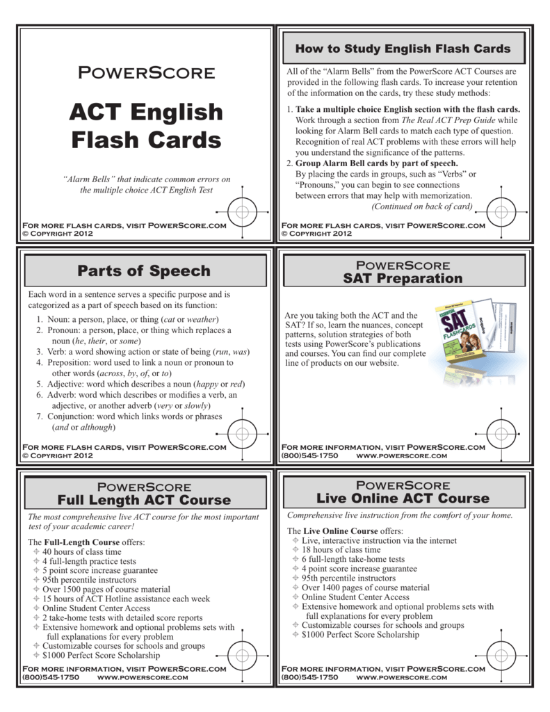 Act English Flash Cards