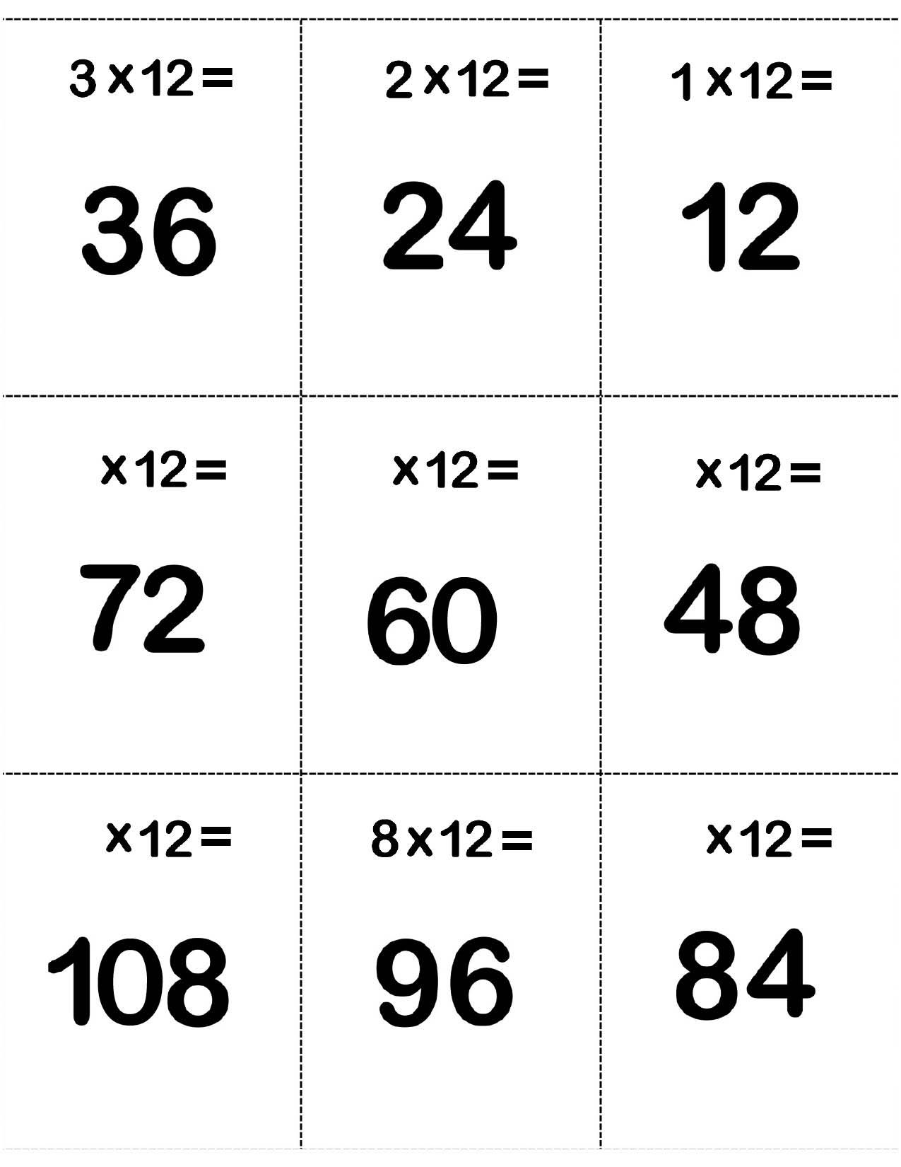 Backs Of 12 Multiplication Facts Flash Cards