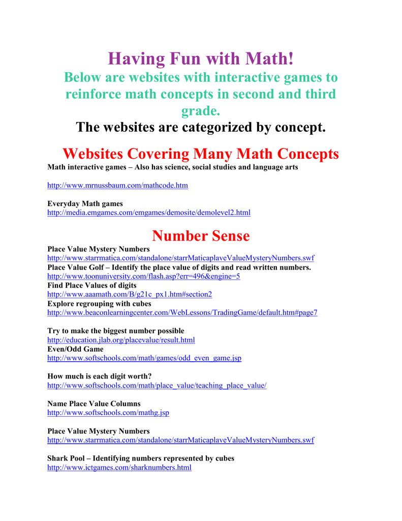 Below Are Websites With Interactive Games To