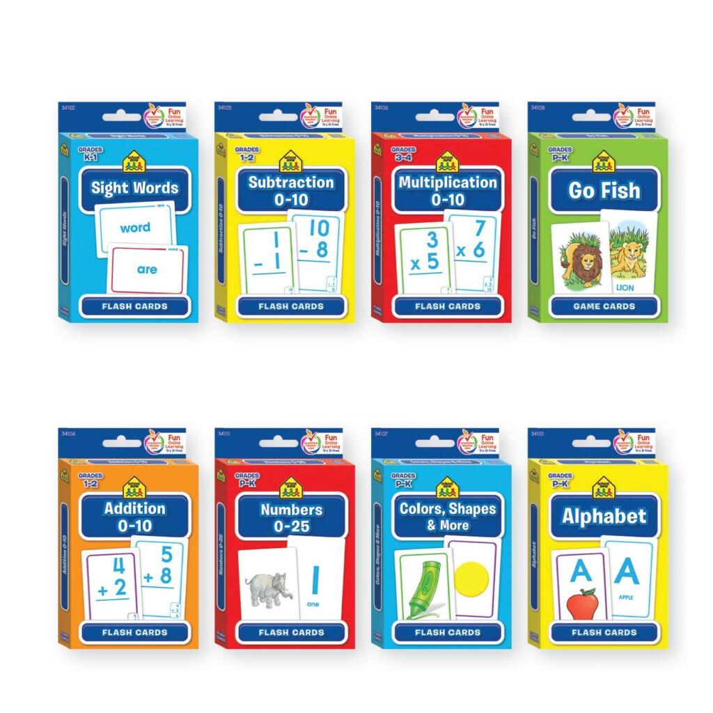 Bundle Of 8 School Zone Flash Cards   Walmart