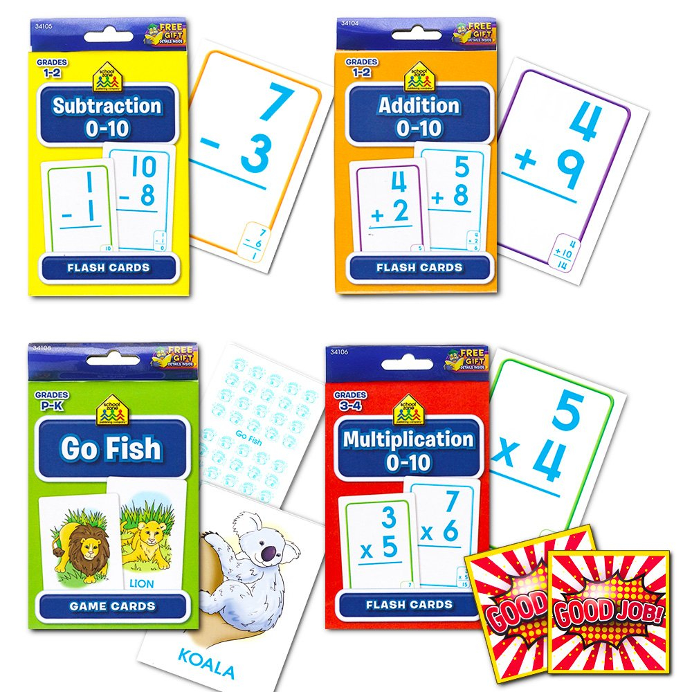 Buy School Zone Flash Cards Math Set Kids -- 4 Packs