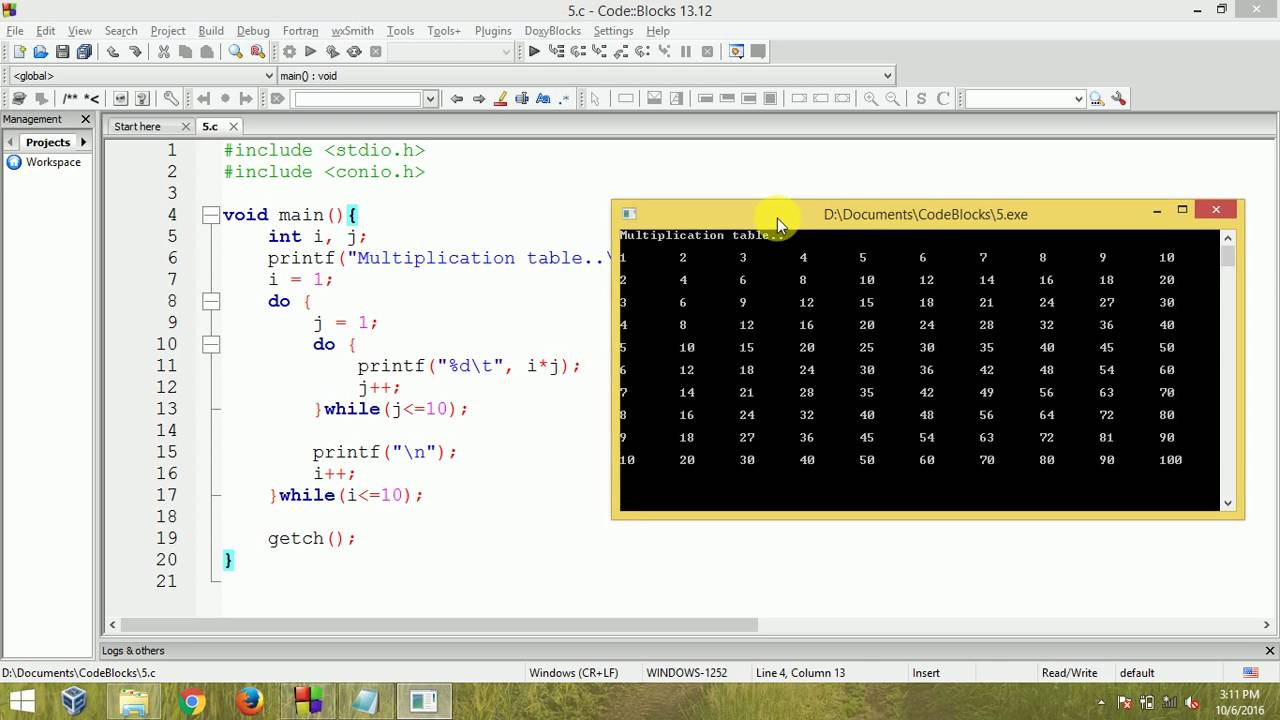 C Programming - Multiplication Table Using Nested Do While Loop