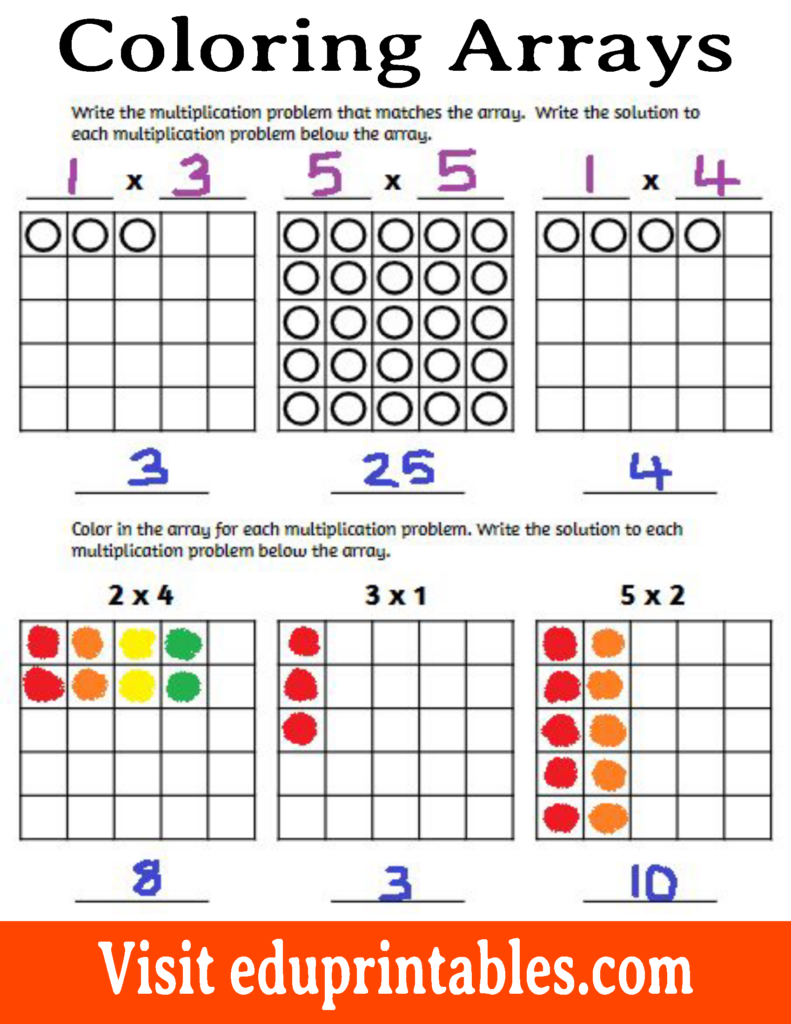 Coloring Arrays, Multiplication Facts Up To 5×5 – Eduprintables