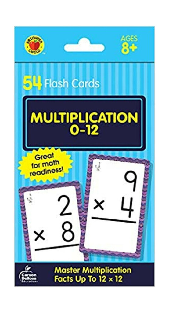 Cool Math For Kids Multiplication 0 To 12 Flash Cards Brighter Child