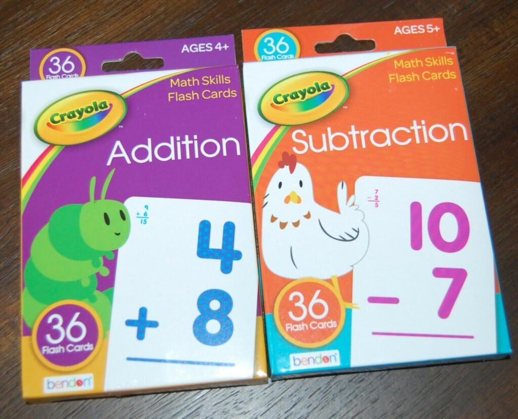 Crayola Flash Cards Addition Subtraction Math Preschool Teaching Education  Lot