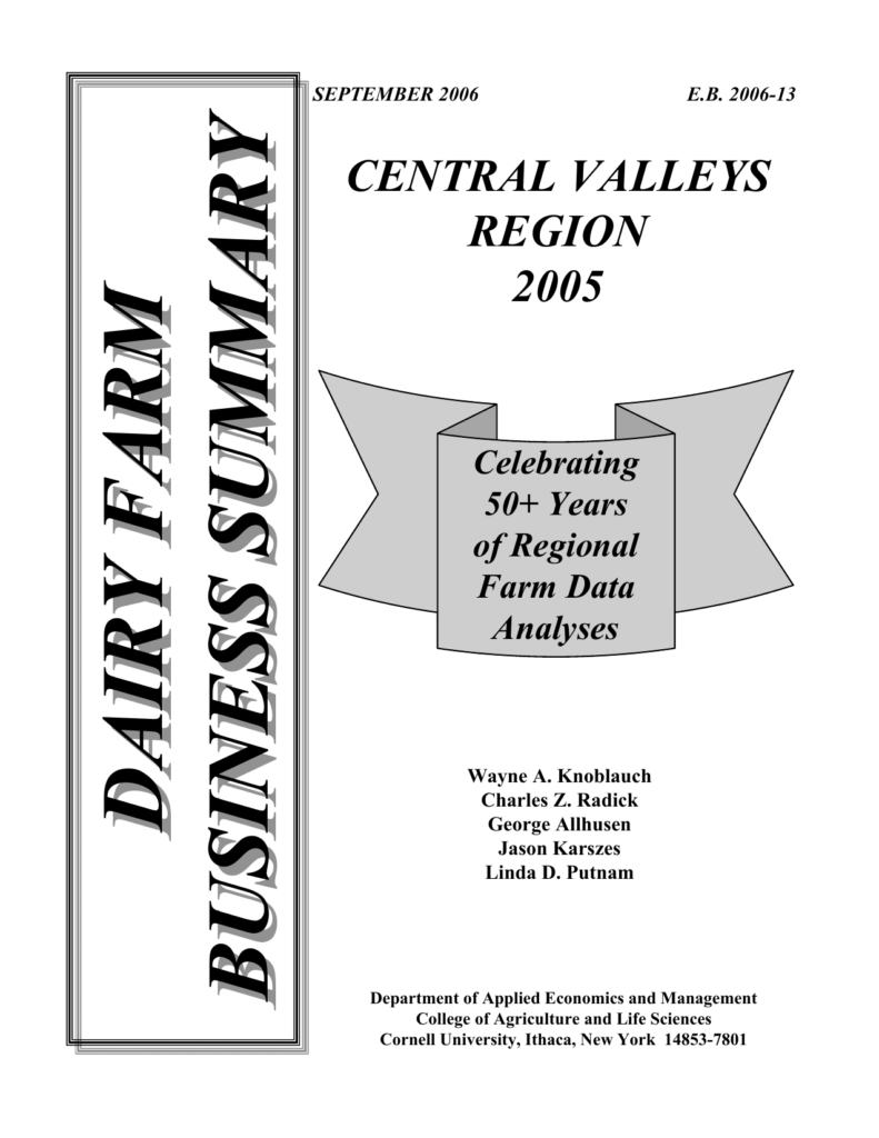 Dairy Farm Business Summary Central Valleys Region