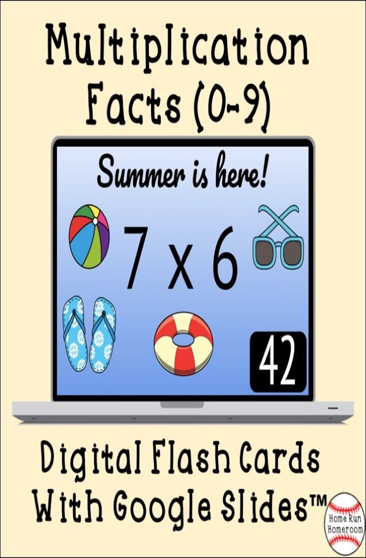 Digital Multiplication Fact Flash Cards (0-9) With Answers