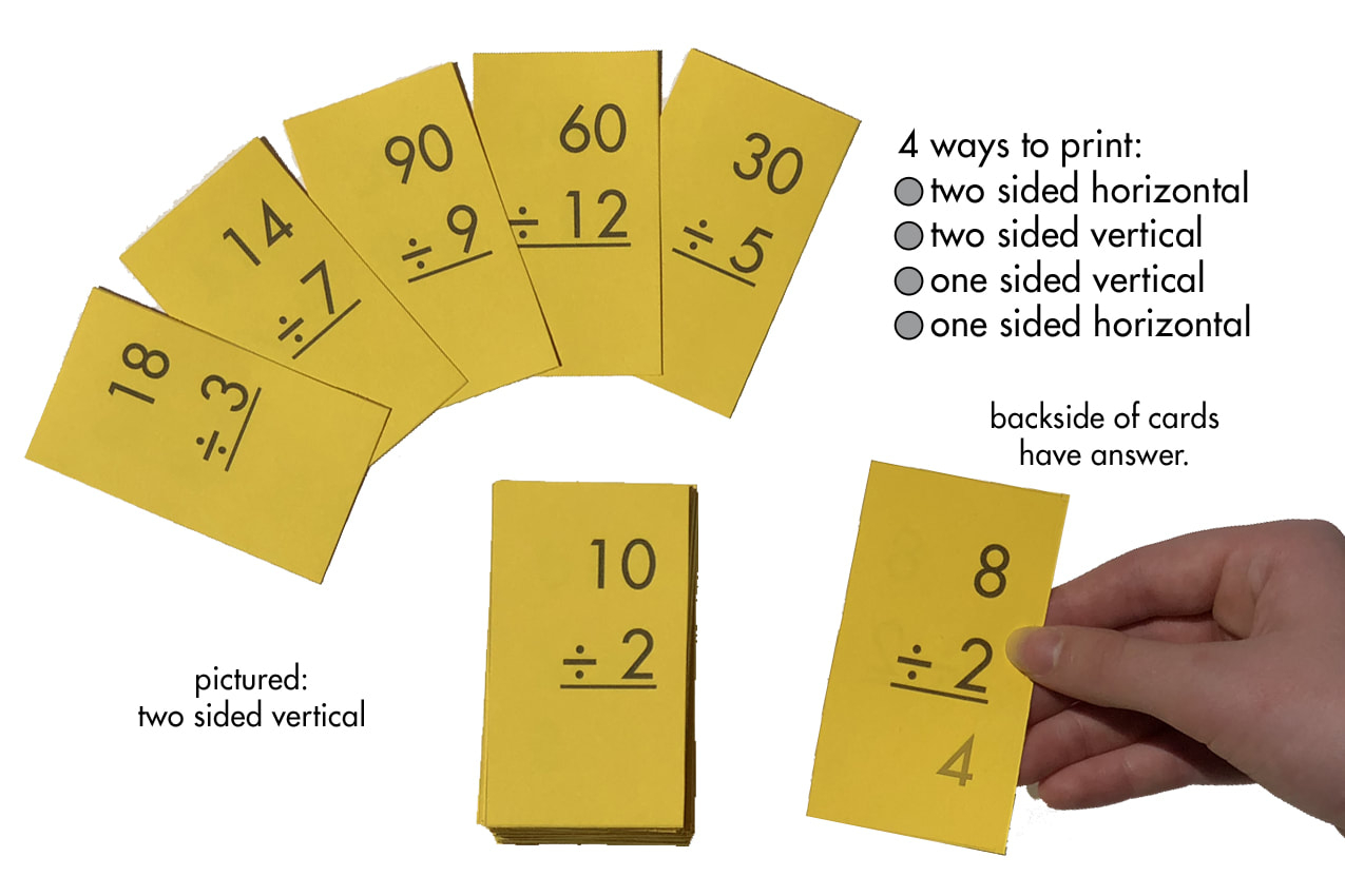 Division 1-12 (All Facts) Flash Cards Plus Free Division Facts Sheet  (Printables)