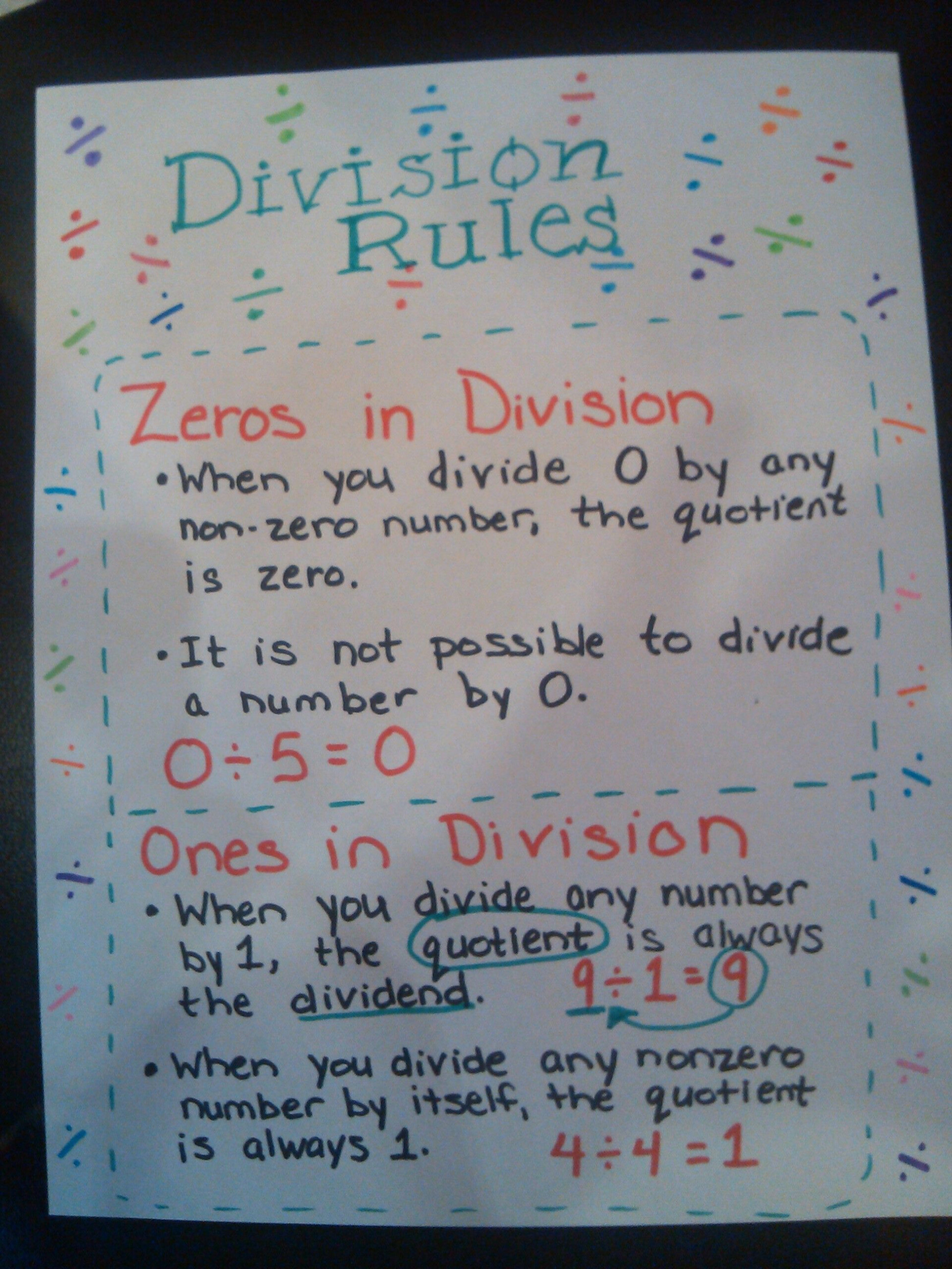 Division Rules For 0's And 1's Anchor Chart | Math Division