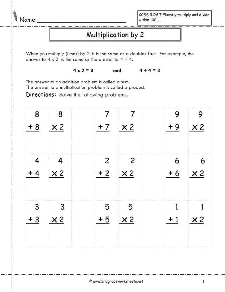 Doubles Facts Math Addition And Multiplication Worksheet