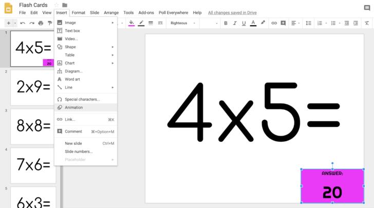 Multiplication Flash Cards Google Slides